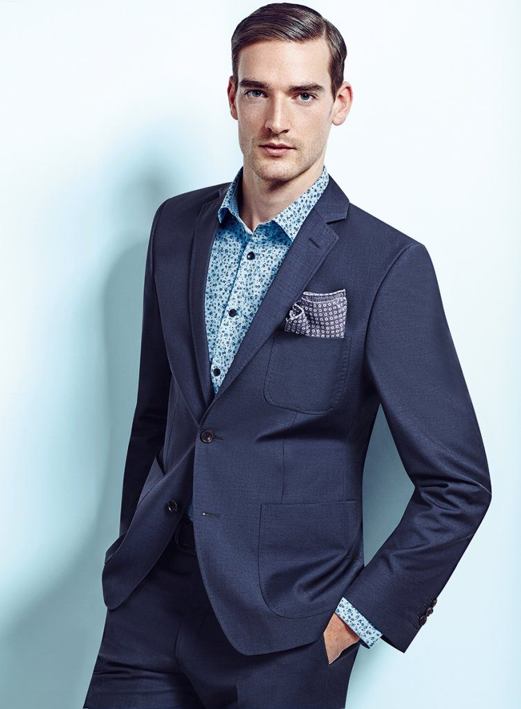 Relaxed fit Blue 2 piece suit