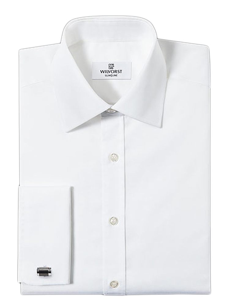 Wilvorst-slimline white double cuff shirt