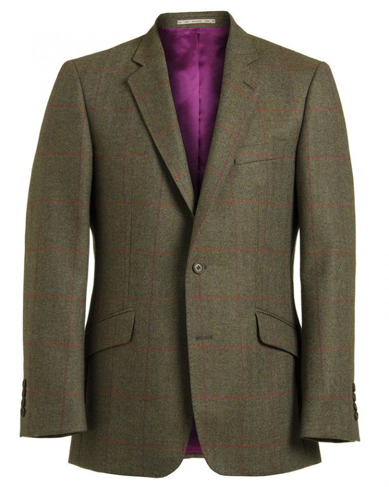 Green Tweed Purple Check Jacket 51919 Tom-Murphy-Menswear