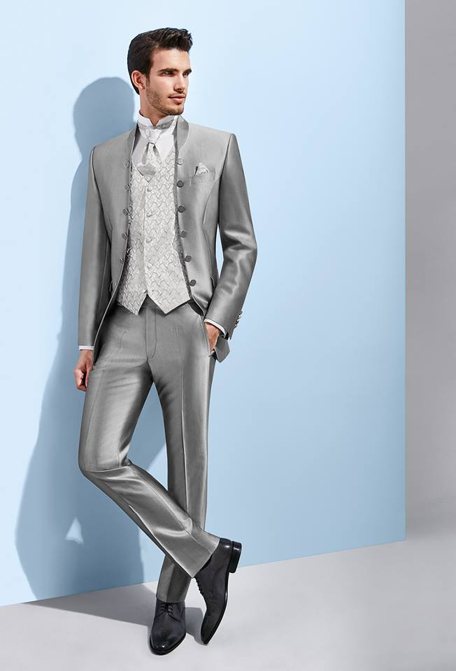 silver grey wedding suit