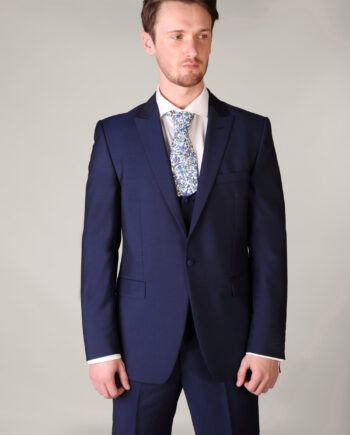 Three Piece Blue Suit with Scoop Waistcoat