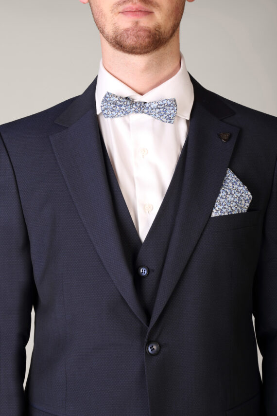 Benetti Micro Pattern 3 Piece Navy Suit