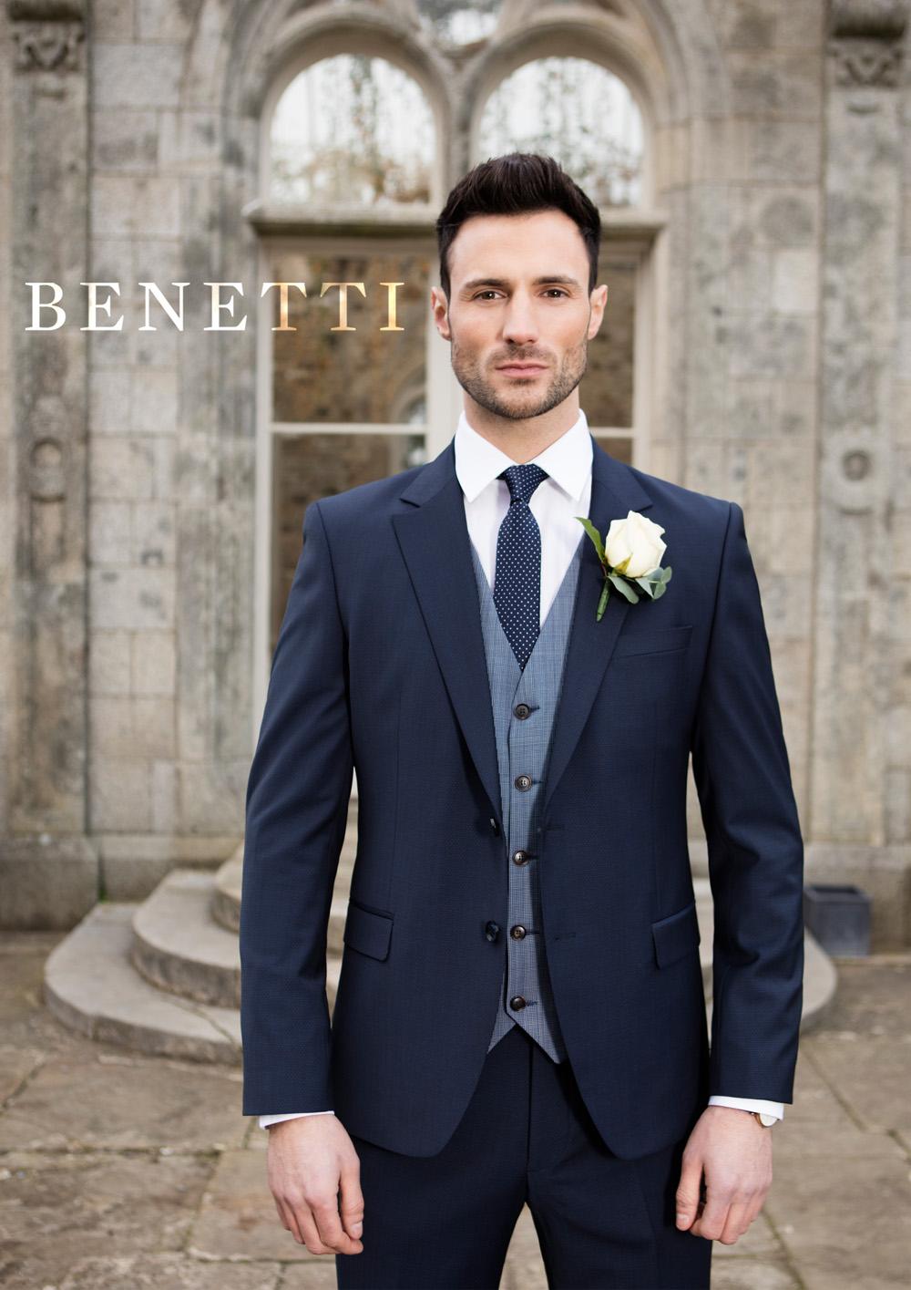 Benetti Micro Pattern 3 Piece Navy Suit Tom Murphy S