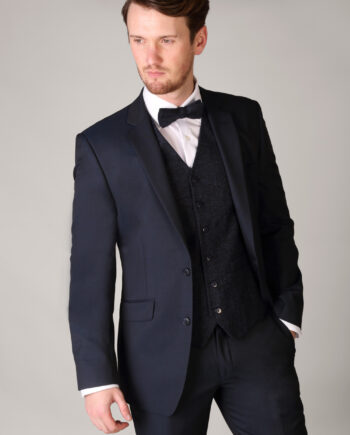 Dark Navy Tweed-Waistcoat and Matching Bow