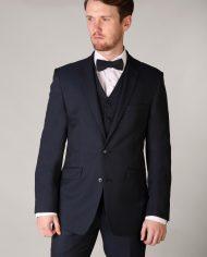 Dark Navy Tweed-Waistcoat and Matching Bow