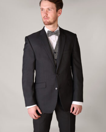 Charcoal Grey Gibson 3 Piece Suit with contrast Herringbone Waistcoat