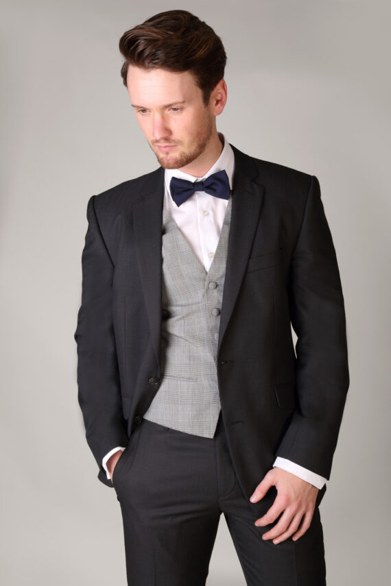 Charcoal Grey suit with contrast check pattern waistcoat