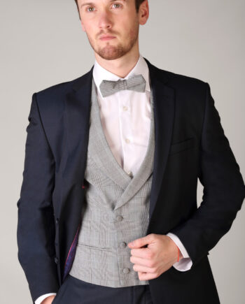 Navy Suit Double Breasted Anthony Check Waistcoat