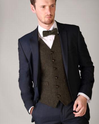 Green Tweed Waistcoat and Bow