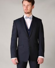 Navy Check Waistcoat with Liberty Bow