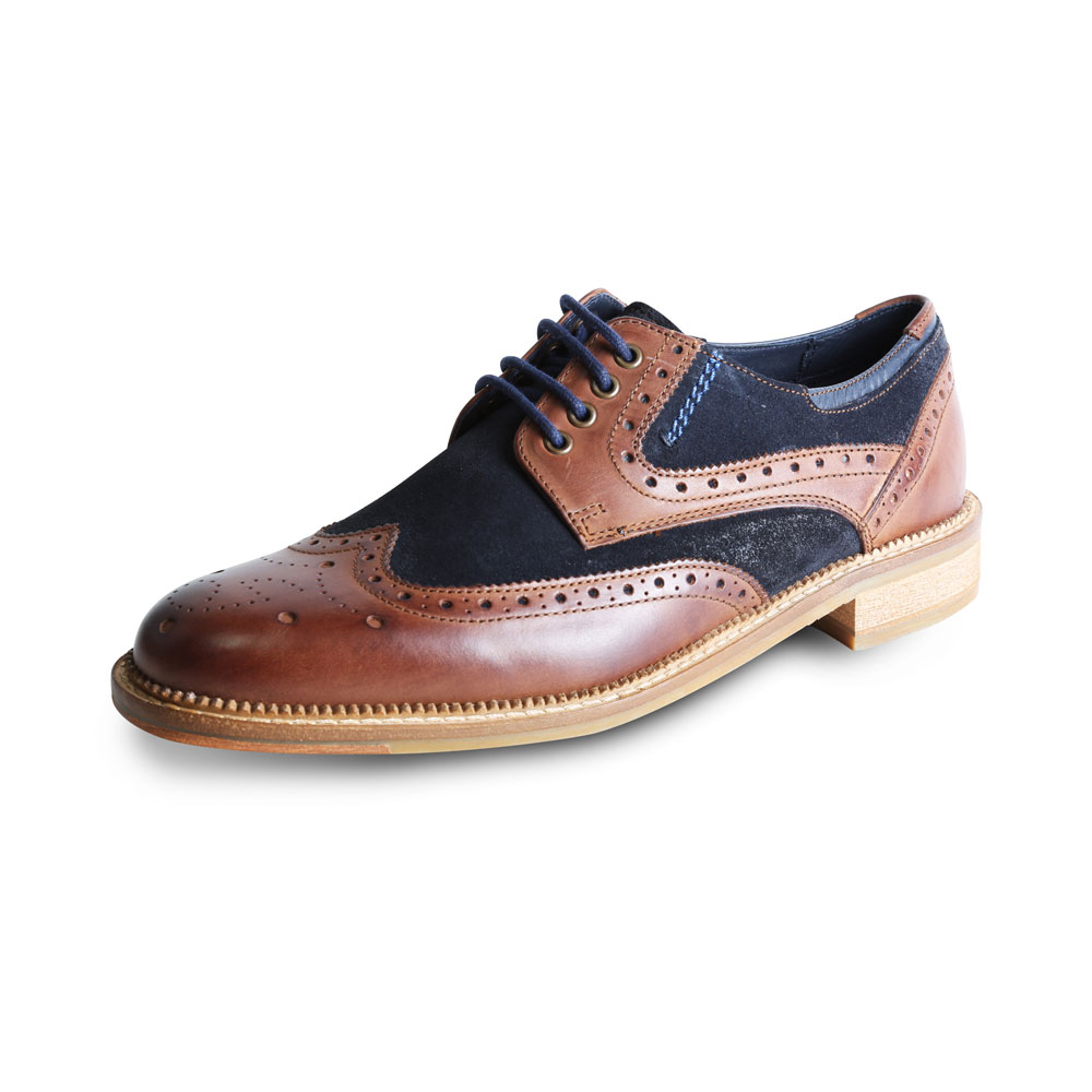 Blue Suede With Tan Leather Shoe By Goodwin Smith