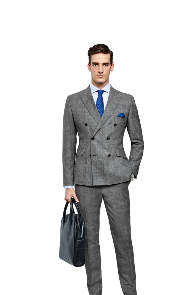 Grey Check Double Breasted 2 Piece Suit