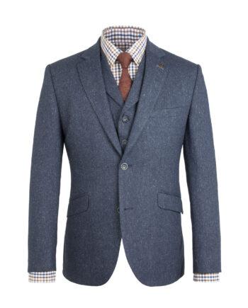 Blue Donegal Tweed 3 Piece Suit