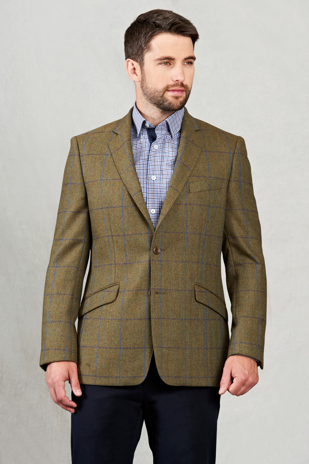 Blue and Purple Country Check Tweed Blazer