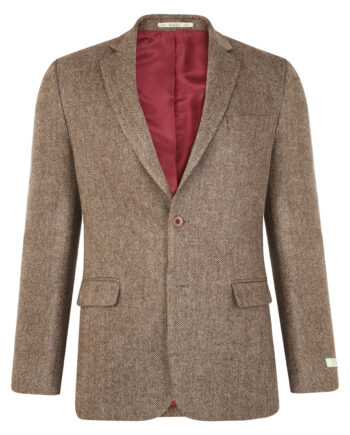 Tan Herringbone Donegal Tweed Blazer