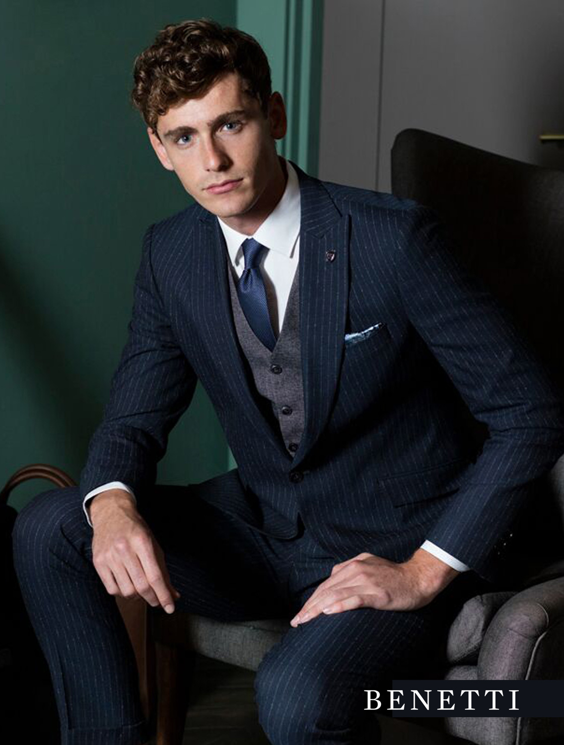fe35e9de Stephen Navy Pin Stripe Suit by Benetti