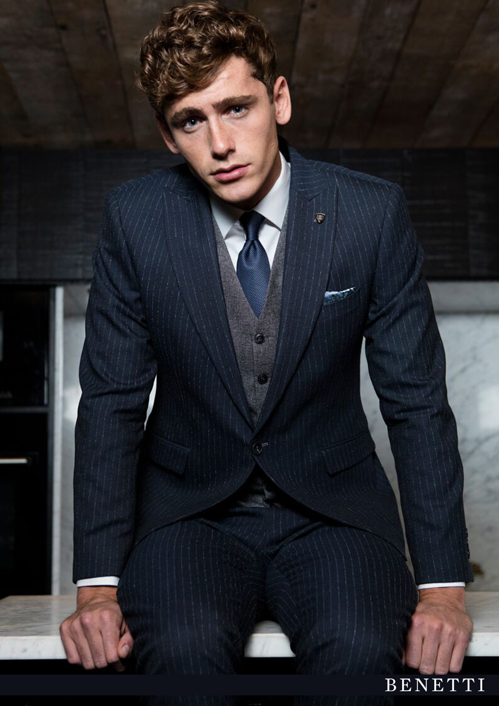 Stephen Navy Pin Stripe Suit by Benetti