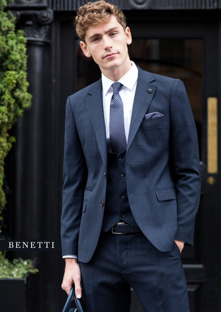 Witlow Navy Check 3 Piece Benetti suit