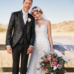 Black Jacquard 3 Piece Wedding Suit