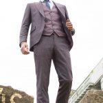 Falcao Wine Pinstripe 3 Piece Suit