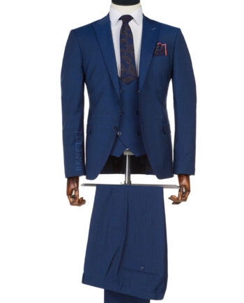Messi Blue Pin Stripe Suit