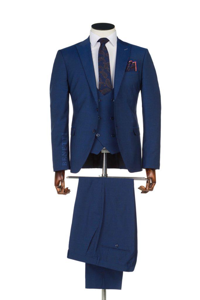 Messi Blue Pin Stripe Suit