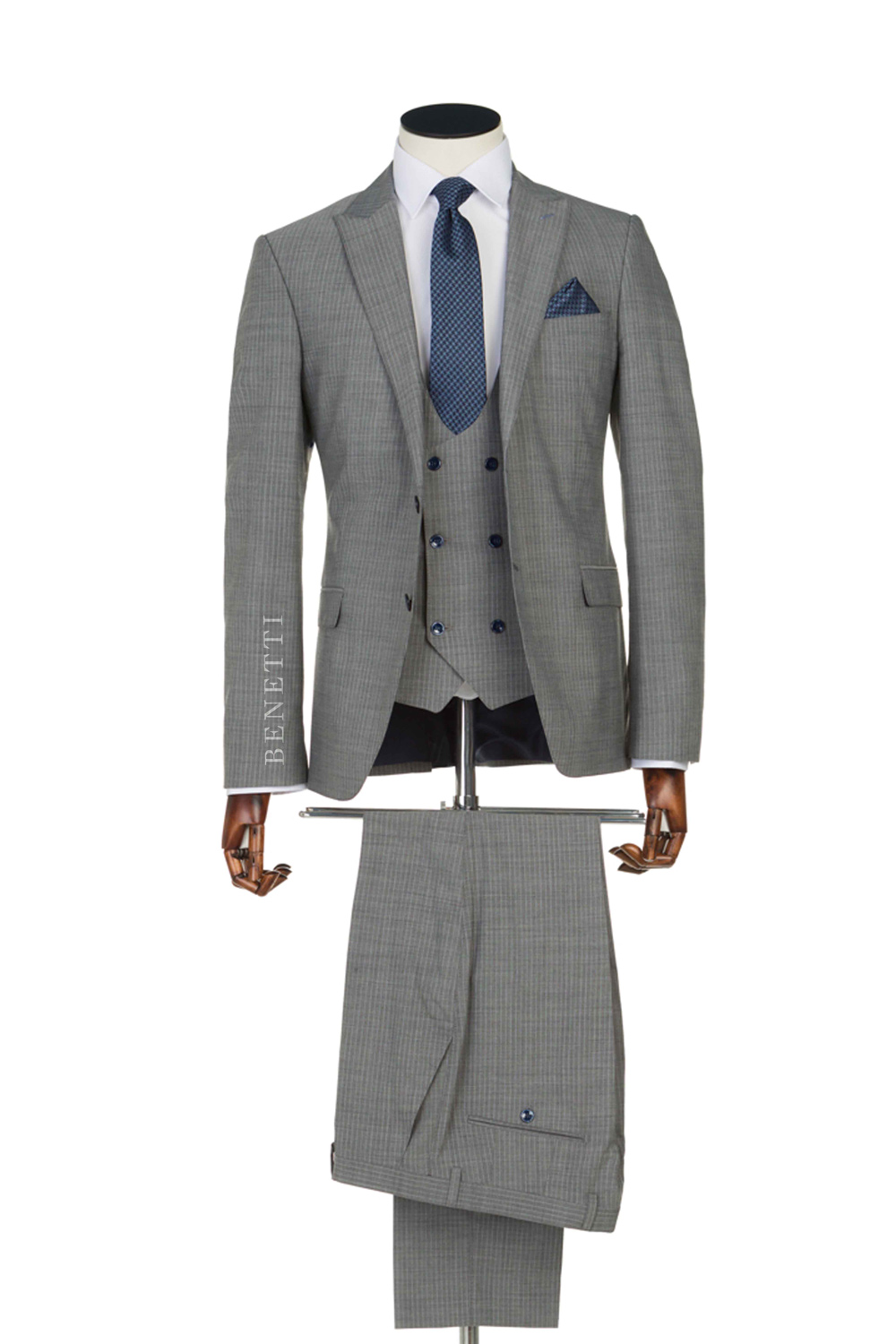 Powder Grey 3 Piece Peak Suit Tom Murphy S Formal And Menswear