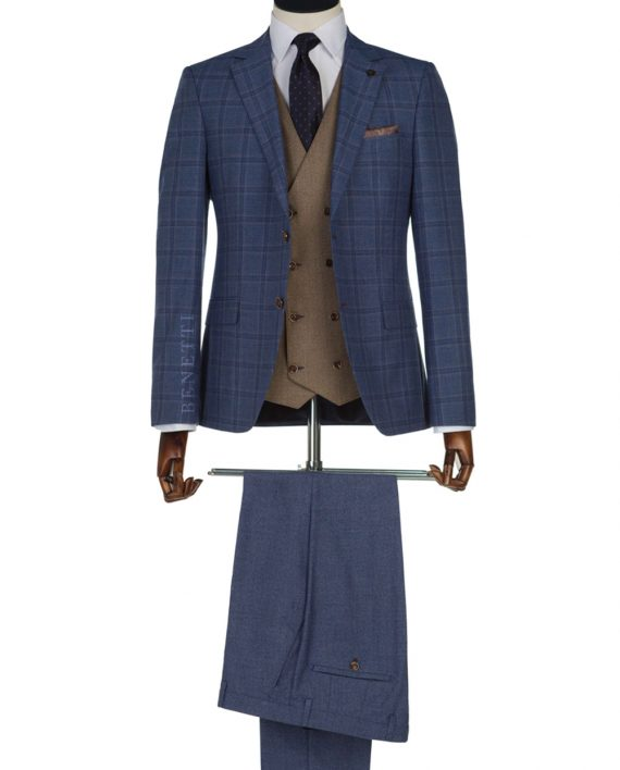 Neymer Blue Windowpane Check Suit