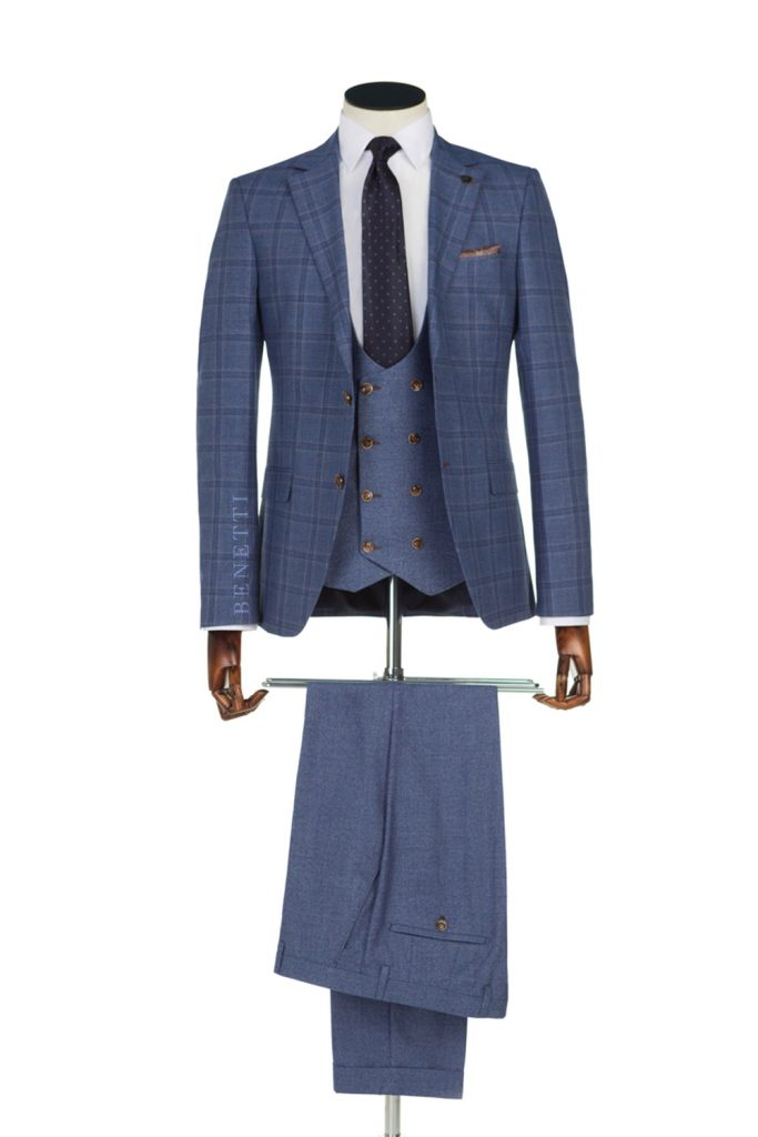 Neymer Pale Blue Windowpane Check Suit