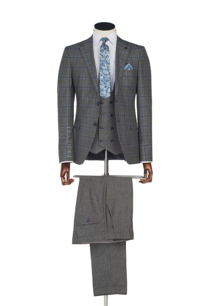 Neymer Grey Blue Windowpane Check suit