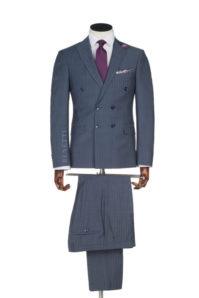 Pirlo Grey Pinstripe Double Breasted suit
