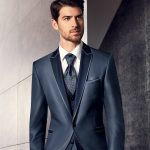 Prestige Blue Wool Silk Blend 3 Piece Suit