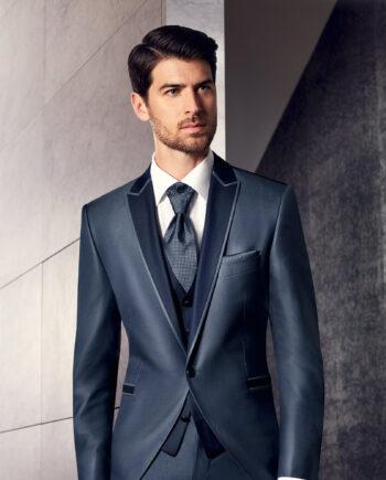 Prestige Blue Wool Silk Blend 3 Piece Suit