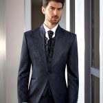 Prestige Jacquard 1 button 3 Piece Wedding Suit