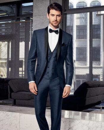 Prestige Blue Houndstooth 3 Piece Dinner Suit