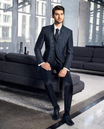 Prestige Elegant Blue Jacquard 3 Piece Wedding Suit