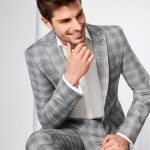 Tziacco Light Grey Prince of Wales Check 3 Piece Wedding Suit