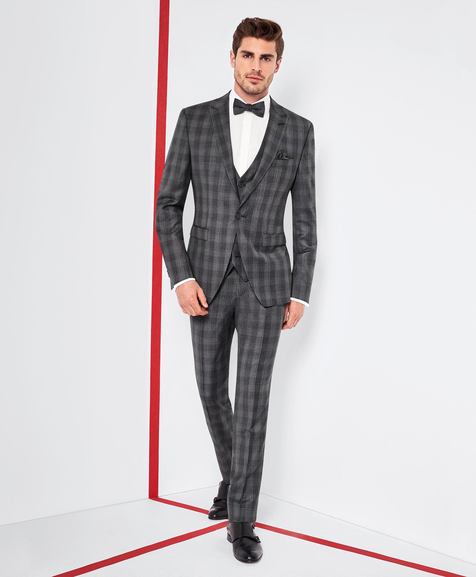 Tziacco Dark Grey Prince of Wales Check 3 Piece Wedding Suit - Tom ...