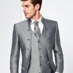Tziacco Grey Arabesque Pattern 3 Piece Wedding Suit