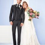 Tziacco Black Sliver Pattern 3 Piece Wedding Suit