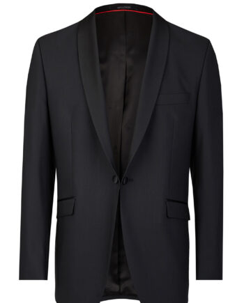 Black Tuxedo Slim Line Smoking Jacket with Red Lining 401201_1_7050_1