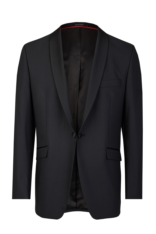 Black Tuxedo Slim Line Smoking Jacket with Red Lining 401201_1_7050_1