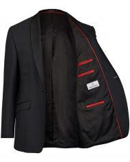 Black Tuxedo Slim Line Smoking Jacket with Red Lining 401201_1_7050_2