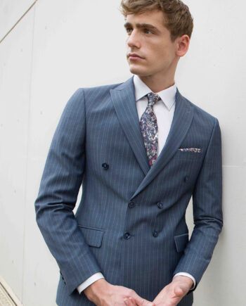 Pirlo Grey Blue Pinstripe 2 Piece Suit