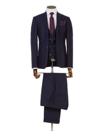 Bale Navy Tweed 3 Piece Suit