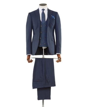 Cruyff Navy Tweed 3 Piece Suit