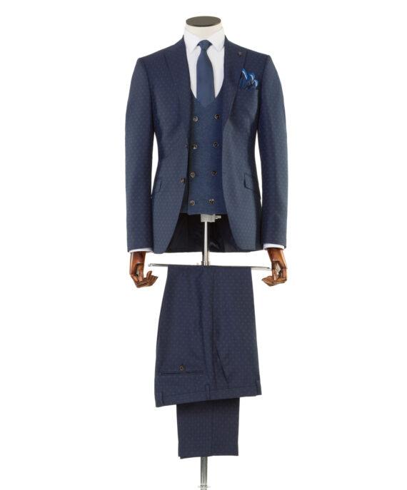 Cruyff Navy Tweed 3 Piece Suit
