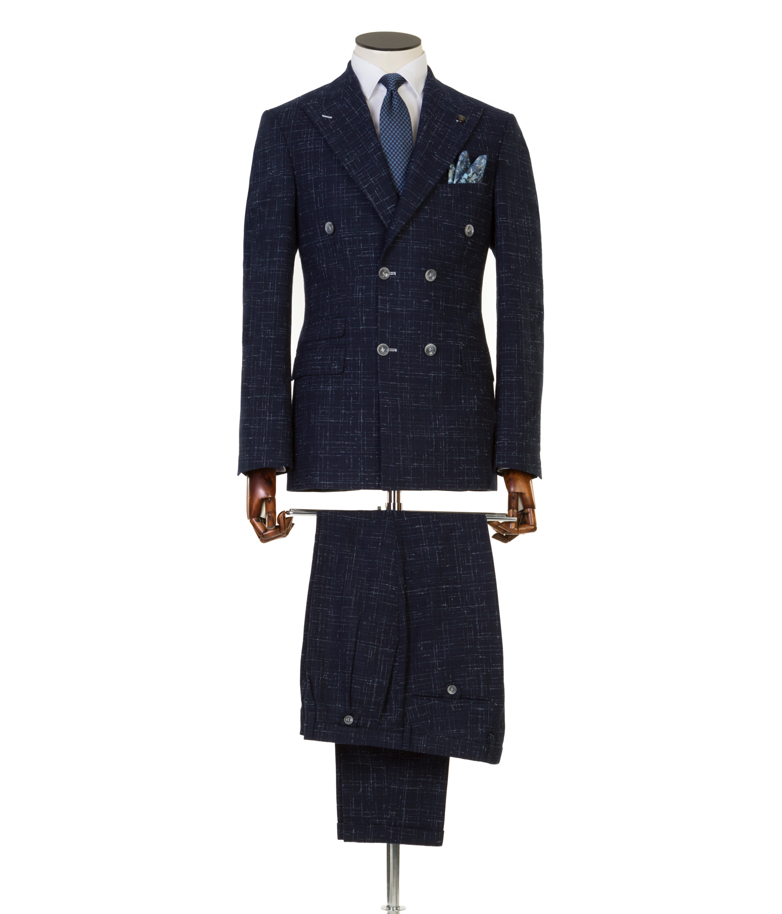Lefter Navy Tweed Double Breasted suit