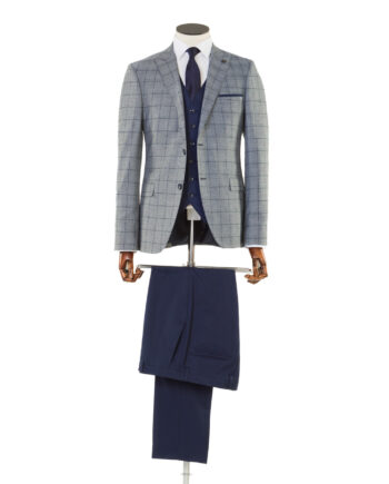 Maradona Grey Navy Check Tweed 3 piece suit
