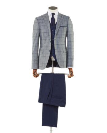Maradona Grey Navy Check Tweed 3 piece suit